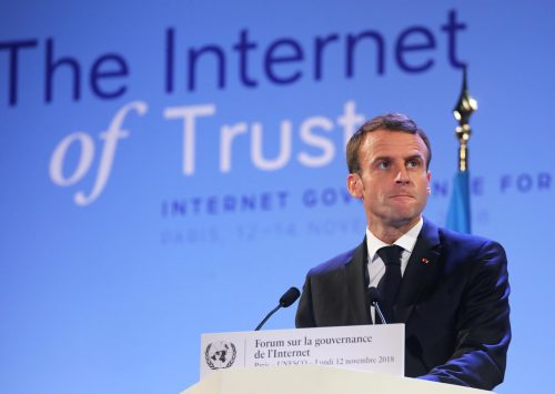 French President Emmanuel Macron delivers a speech during the opening session of the Internet Governance Forum (IGF) at the UNESCO headquaters in Paris, on November 12, 2018. - Fifty-one states, including all EU members, have pledged their support for a new international agreement to set standards on cyberweapons and the use of the internet, the French government said on November 12. China, Russia and the United States did not sign the pledge, reflecting their resistance to setting standards for cyberweapons which are at the cutting edge of modern warfare. (Photo by Ludovic MARIN / POOL / AFP)